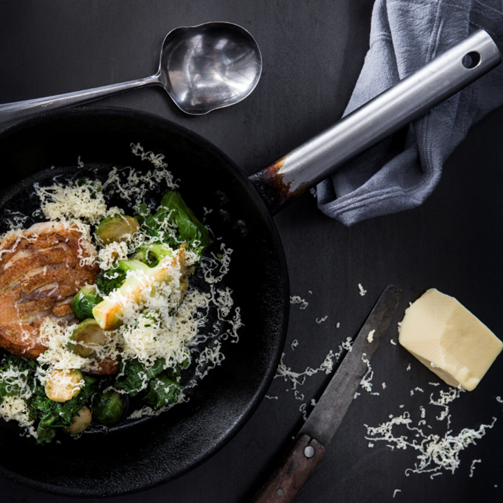 Pan-fried redfish with greens